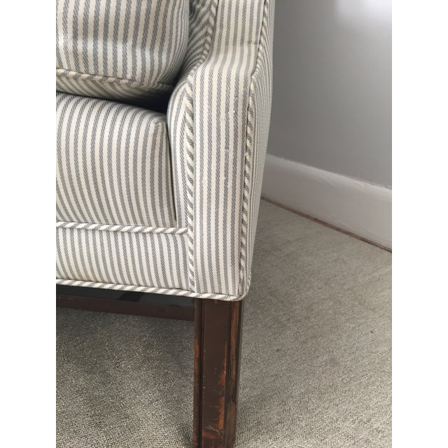 Custom Striped Wing Chair - Image 9 of 9