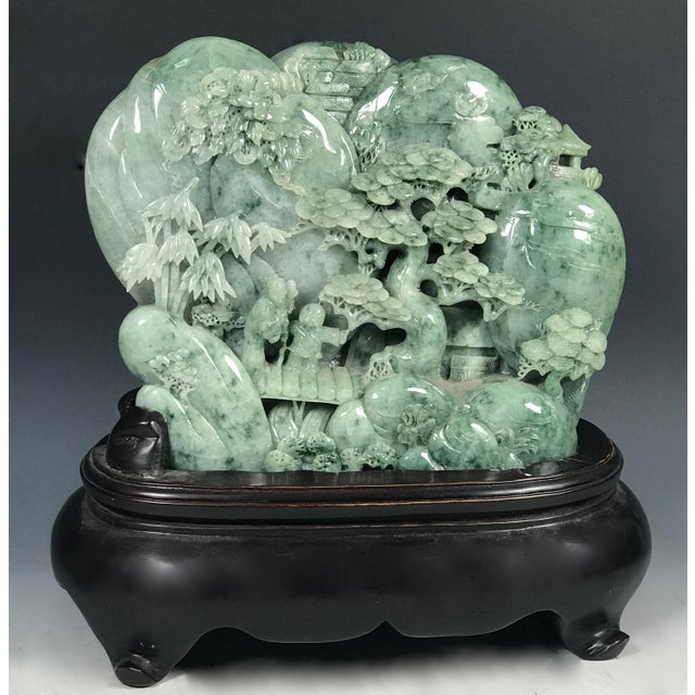 Chinese Art Carved Green Jade Mountain With People - Image 8 of 11