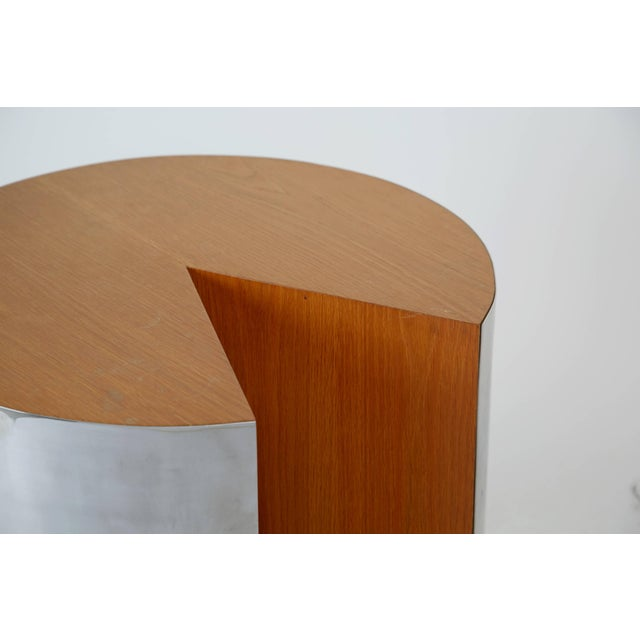 """Pace Collection Pace Chrome and Wood """"Pac-Man"""" Cut-Out Side Table. Circa 1980 For Sale - Image 4 of 6"""
