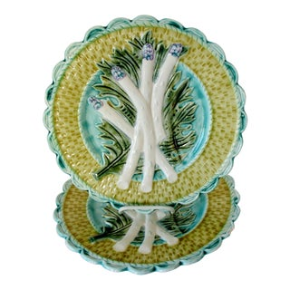 French Majolica Salad Plates, a Pair For Sale