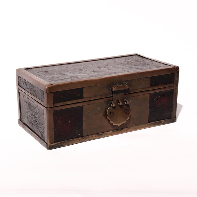 Late 19th Century Chinese Brass and Lacquered Wood Storage Box For Sale - Image 4 of 9