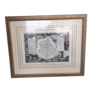 Antique Framed French Departmental Map Circa 1845 For Sale