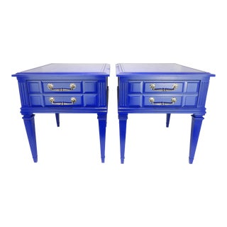 Pair of Satin Navy Blue Nightstands with Brass Pulls