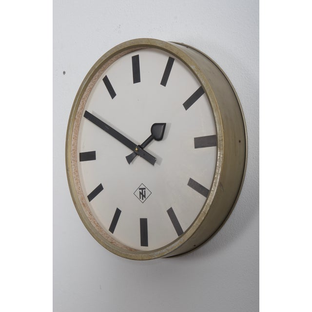 Industrial Large Industrial Factory or Stration Clock by Telefonbau Und Normalzeit For Sale - Image 3 of 7