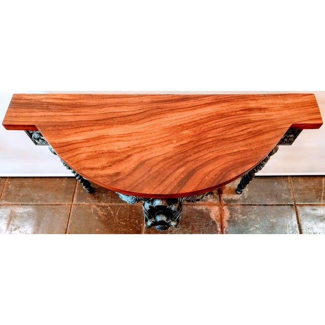 Italian Baroque Style Console Table With Shaped Cocobolo Top For Sale In San Diego - Image 6 of 7