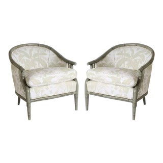 Pair of Faux Bamboo Chairs Upholstered in Jan Showers for Kravet Fabric, C. 1970 For Sale