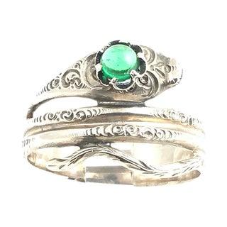 Sterling & Green Glass Snake Ring For Sale