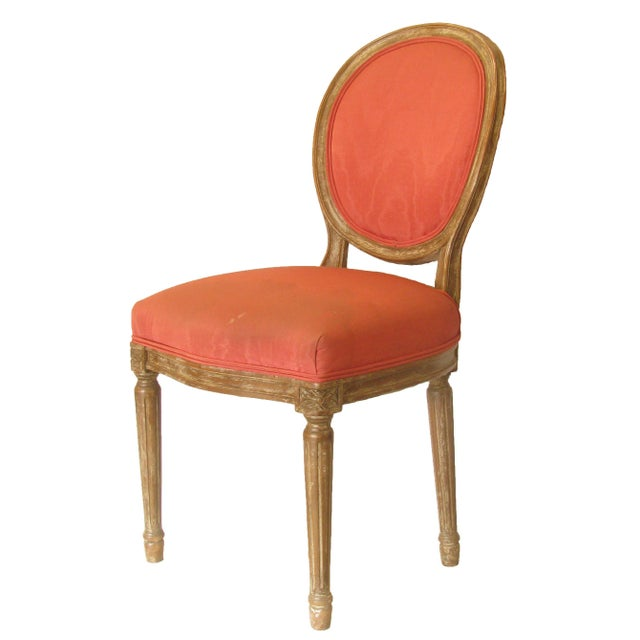 Lovely Louis XVI style accent chair; perfect for the entry, hallway, or boudoir. Berry hued fabric accented with a...