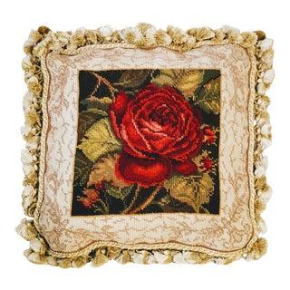 Velvet Rose Needlepoint Tassel Pillow For Sale