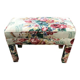 Parsons Upholstered Floral Bench For Sale