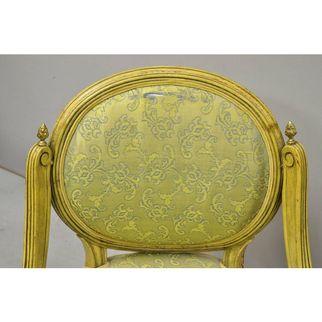 Early 20th Century Vintage French Louis XVI Style Low Petite Boudoir Small Hiprest Chairs - a Pair For Sale - Image 5 of 13