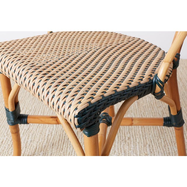 Wood Pair of Palecek Bamboo Rattan Bistro Cafe Chairs For Sale - Image 7 of 13