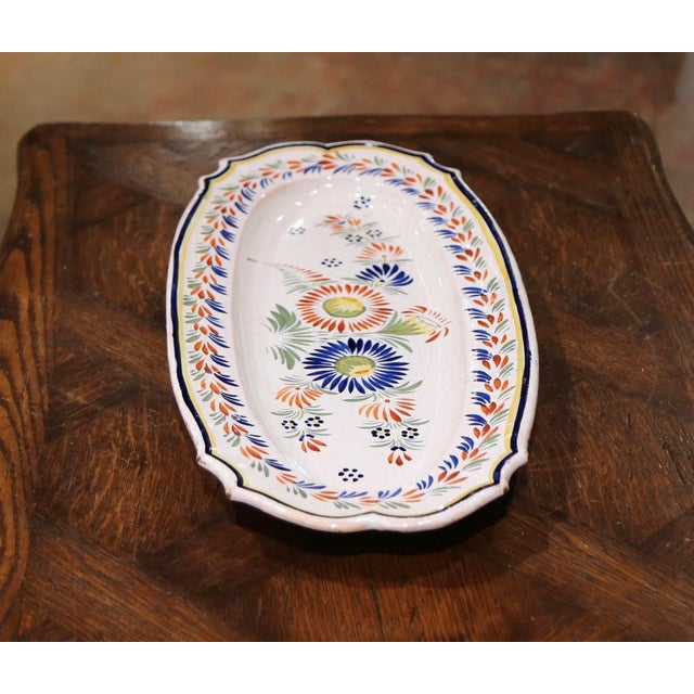 Mid 20th Century Mid-20th Century French Hand Painted Faience Fish Platter Quimper Style For Sale - Image 5 of 7