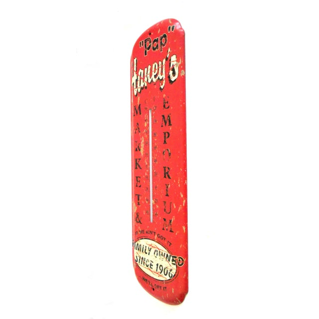 Intentionally manufactured to have a vintage/weathered appearance. This tin thermometer has a wonderfully nostalgic...