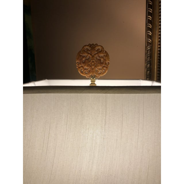Caramel colored finial with lots of detail is a wonderful neutral topper for a special lamp. Brass base. Varnished for...