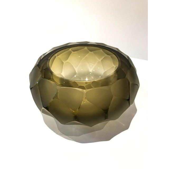 Alberto Donà Alberto Dona Chiseled Murano Bowl in Olive For Sale - Image 4 of 9
