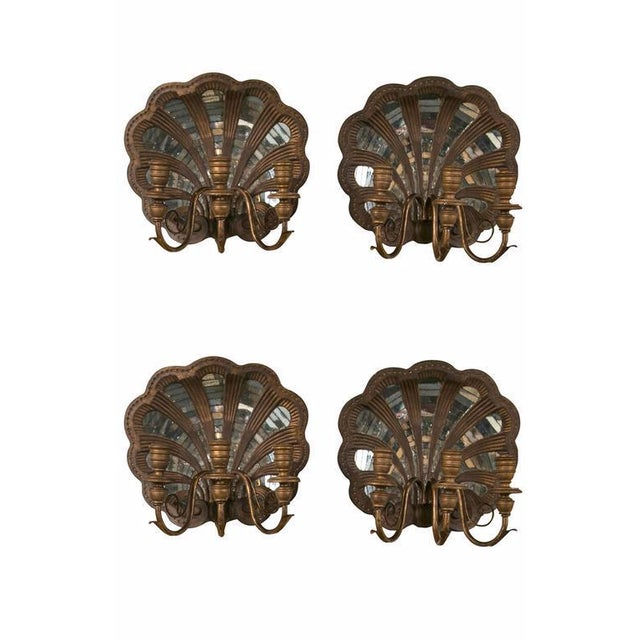 Wood Shell and Mirror Wall Sconces - Set of Four - Image 1 of 9
