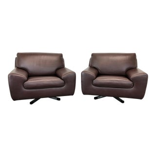 Roche-Bobois Modern Swivel Chairs in Chocolate Brown Leather - Pair 2 For Sale