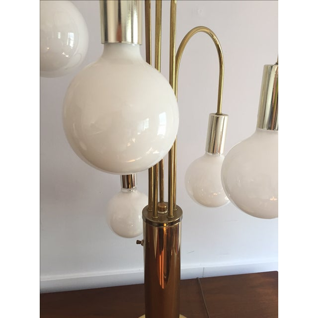 Mid-Century Brass Waterfall Table Lamps - A Pair - Image 4 of 11