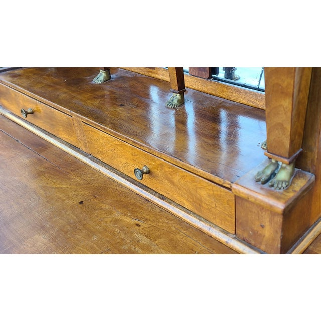 Brown Antique English Regency Amboyna Egyptian Revival Pier Console Table W/ Upper Arched Mirror Top C1850 For Sale - Image 8 of 12