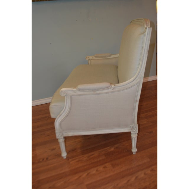 Louis XVI Style Painted Sofa Upholstered in Belgium Linen Available for Custom Orderfor Custom Order For Sale - Image 9 of 10