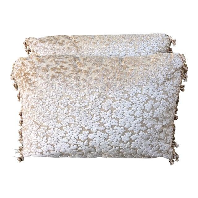 Cream Cut Silk Velvet Pillows - Pair - Image 1 of 6