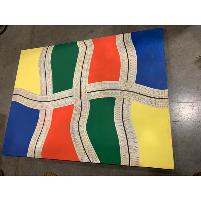 """Vintage condition good with one patch (not viewable from front) Work is unsigned but titled """"LA Freeway"""". Collected from..."""