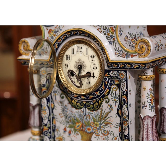 Ceramic 19th Century French Hand-Painted Ceramic Mantel Clock From Rouen For Sale - Image 7 of 11