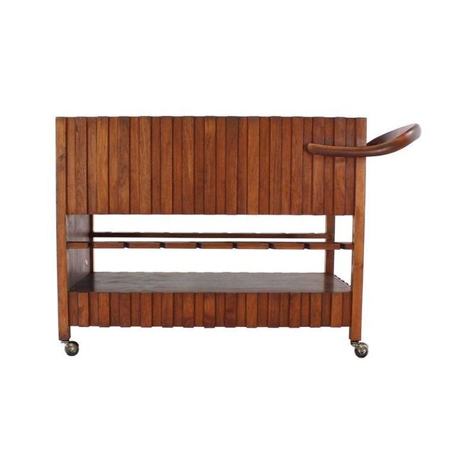 Mid 20th Century Mid-Century Modern Solid Oiled Walnut Bar Serving Cart For Sale - Image 5 of 8