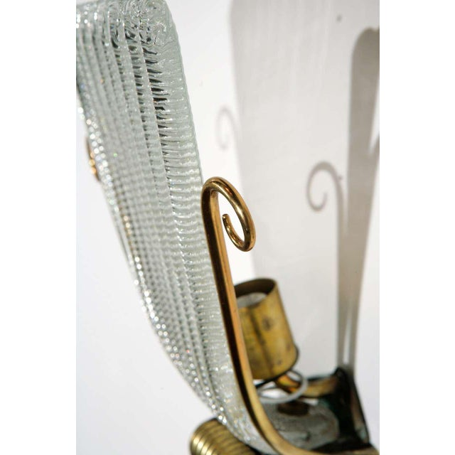 1950s Brass and Rippled Murano Glass Wall Sconces - a Pair For Sale - Image 9 of 10