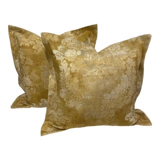 French Provincial Damask Linen Blend Pillows - a Pair For Sale
