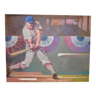 Monumental Baseball Painting by Noted Artist / Illustrator o.j. Watson C.1989