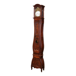 Mid-18th Century French Louis XV Carved Burl Walnut Tall Case Clock From Lyon For Sale