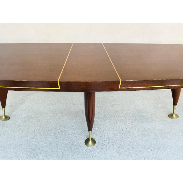 Gold Mid-Century 1960s Mahogany Dining Table & Chairs by Arturo Pani With Brass Inlay For Sale - Image 8 of 12
