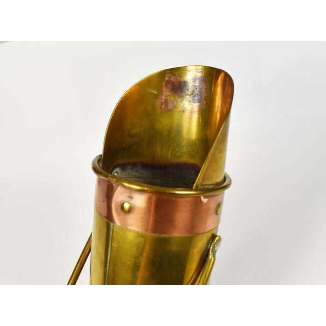Vintage Copper Brass Coal Ash Scuttle Hod Bucket Scoop With Match Striking For Sale - Image 6 of 10