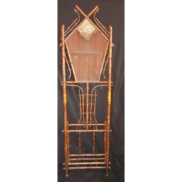 19th Century Art Nouveau Bamboo Woven Back Hall Tree With Beveled Shield Mirror and Nouveau Lamajolique - Societe Anonyme Tile For Sale In Chicago - Image 6 of 9