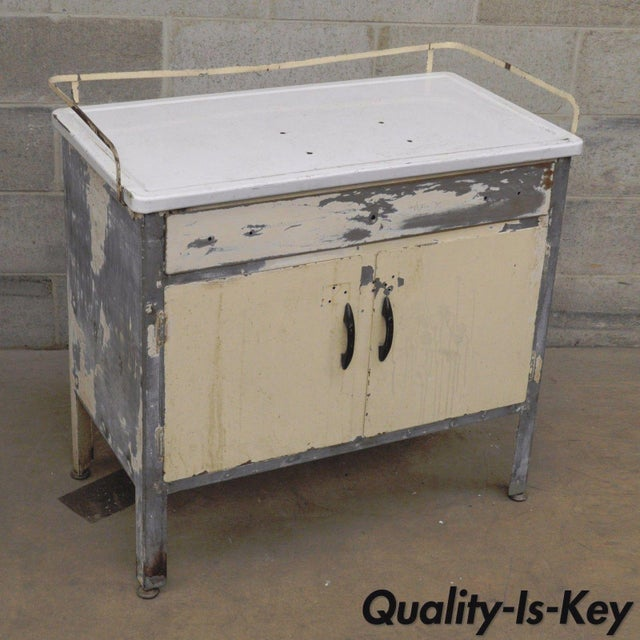 Antique Industrial Steel Metal Enamel Top Medical Cabinet For Sale - Image 12 of 13