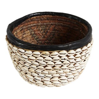 Vintage Cowry Shell Basket For Sale