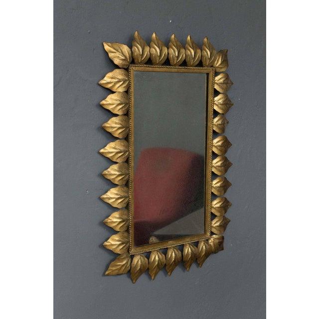 Rectangular Gilt Metal Sunburst Mirror For Sale In New York - Image 6 of 9