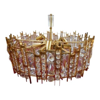 Gilded Brass and Crystal Chandelier Palwa