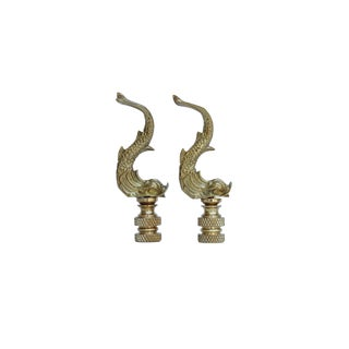 Brass Dolphin Lamp Finials - a Pair For Sale