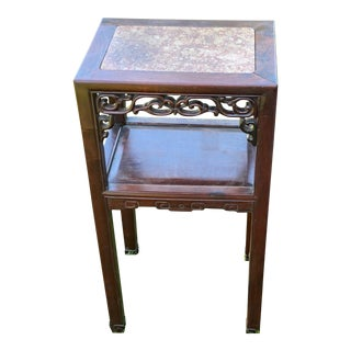 Antique Chinese Hard Wood & Marble Top Carved Stand For Sale