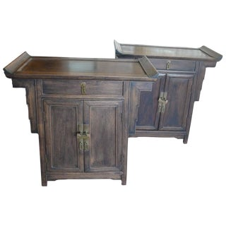 Pair of Wood Chinese Side Cabinets For Sale