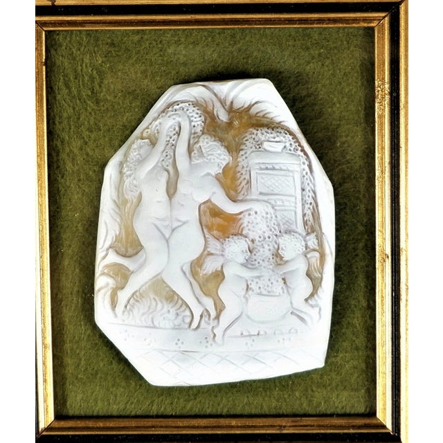 Contemporary Vintage Cameo Shell Fragment of Nude Women Dancing, Framed For Sale - Image 3 of 4
