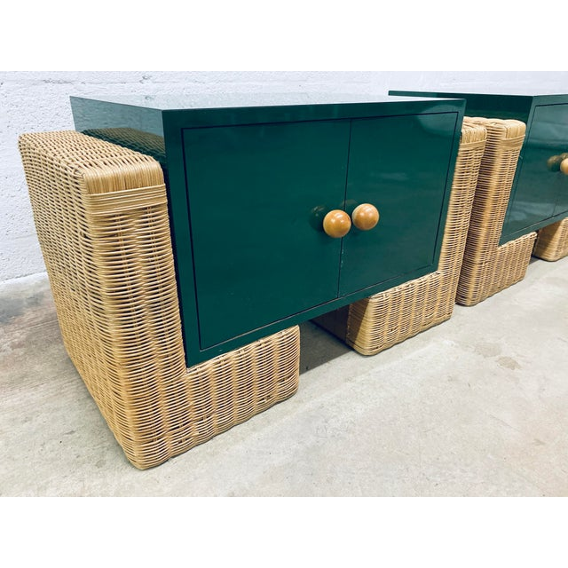 Wicker Mid Century Modern Rattan Nightstands, 1970s - a Pair For Sale - Image 7 of 12