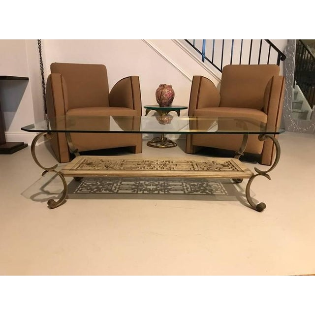 Mid-Century Brass and Giltwood Coffee Table - Image 8 of 9