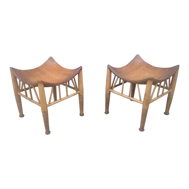 Mid Century Modern Accent Stools- a Pair For Sale - Image 4 of 4