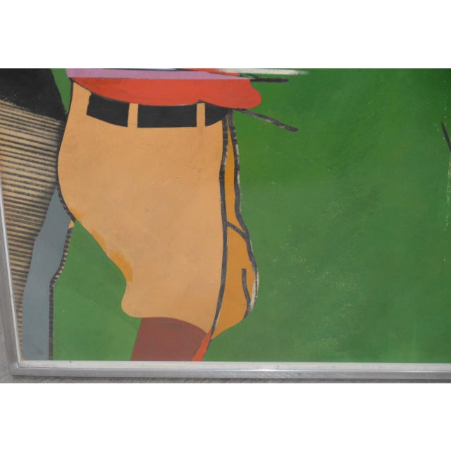 """Color Pencil Richard Merkin (1938-2009) """"Yamekraw, An Original Composition"""" Monumental Mixed Media Painting For Sale - Image 7 of 11"""