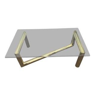Karl Springer Glass Top Brass Z Coffee Table For Sale