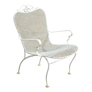 Vintage Russell Woodard Sculptura Mid Century Modern Iron Patio Dining Arm Chair For Sale
